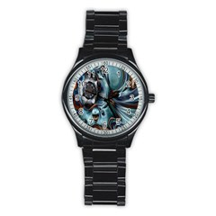 Light Color Floral Grey Stainless Steel Round Watch