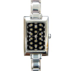 Background For Scrapbooking Or Other With Flower Patterns Rectangle Italian Charm Watch