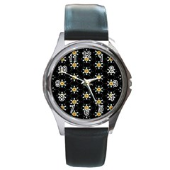 Background For Scrapbooking Or Other With Flower Patterns Round Metal Watch