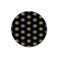 Background For Scrapbooking Or Other With Flower Patterns Rubber Coaster (Round)