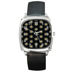 Background For Scrapbooking Or Other With Flower Patterns Square Metal Watch