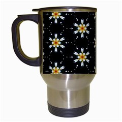 Background For Scrapbooking Or Other With Flower Patterns Travel Mugs (White)