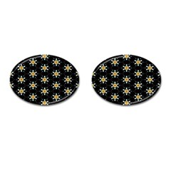 Background For Scrapbooking Or Other With Flower Patterns Cufflinks (Oval)