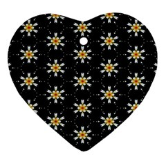 Background For Scrapbooking Or Other With Flower Patterns Heart Ornament (Two Sides)