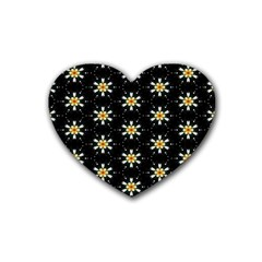 Background For Scrapbooking Or Other With Flower Patterns Rubber Coaster (Heart)