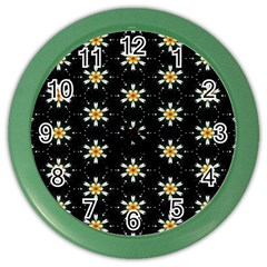 Background For Scrapbooking Or Other With Flower Patterns Color Wall Clocks