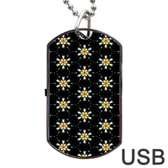 Background For Scrapbooking Or Other With Flower Patterns Dog Tag USB Flash (One Side)