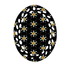 Background For Scrapbooking Or Other With Flower Patterns Oval Filigree Ornament (two Sides)