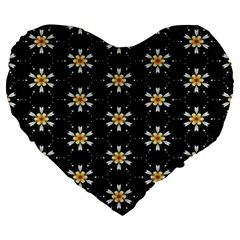 Background For Scrapbooking Or Other With Flower Patterns Large 19  Premium Heart Shape Cushions