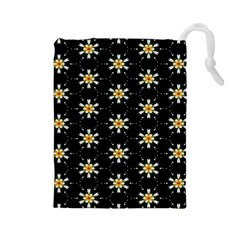 Background For Scrapbooking Or Other With Flower Patterns Drawstring Pouches (Large)