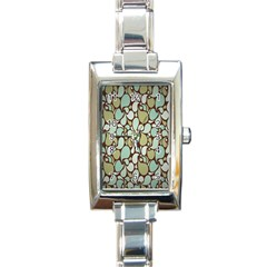 Leaf Camo Color Flower Floral Rectangle Italian Charm Watch