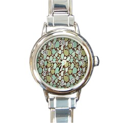 Leaf Camo Color Flower Floral Round Italian Charm Watch