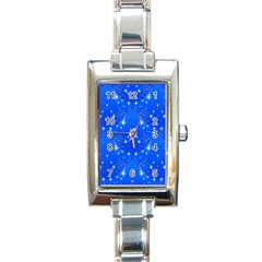 Background For Scrapbooking Or Other With Snowflakes Patterns Rectangle Italian Charm Watch