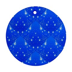 Background For Scrapbooking Or Other With Snowflakes Patterns Ornament (Round)