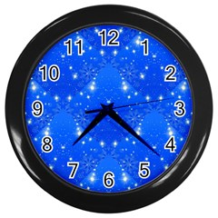Background For Scrapbooking Or Other With Snowflakes Patterns Wall Clocks (Black)