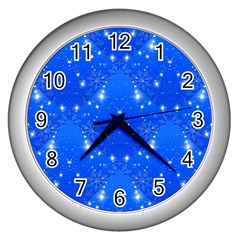Background For Scrapbooking Or Other With Snowflakes Patterns Wall Clocks (silver)