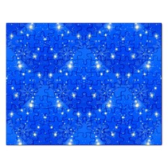 Background For Scrapbooking Or Other With Snowflakes Patterns Rectangular Jigsaw Puzzl