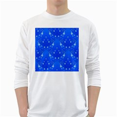 Background For Scrapbooking Or Other With Snowflakes Patterns White Long Sleeve T-Shirts