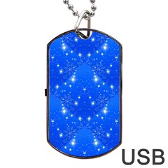 Background For Scrapbooking Or Other With Snowflakes Patterns Dog Tag USB Flash (One Side)