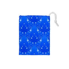 Background For Scrapbooking Or Other With Snowflakes Patterns Drawstring Pouches (small)