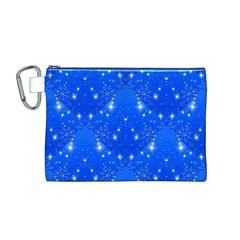 Background For Scrapbooking Or Other With Snowflakes Patterns Canvas Cosmetic Bag (M)