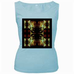 Background Pattern Women s Baby Blue Tank Top