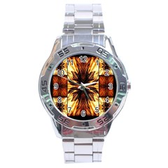 Background Pattern Stainless Steel Analogue Watch