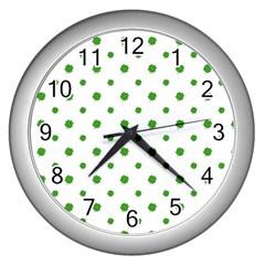 Saint Patrick Motif Pattern Wall Clocks (Silver)