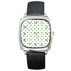 Saint Patrick Motif Pattern Square Metal Watch