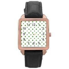 Saint Patrick Motif Pattern Rose Gold Leather Watch
