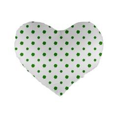 Saint Patrick Motif Pattern Standard 16  Premium Flano Heart Shape Cushions