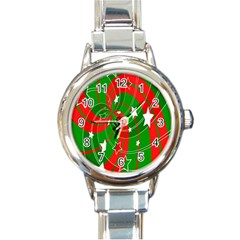 Background Abstract Christmas Round Italian Charm Watch