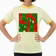 Background Abstract Christmas Women s Fitted Ringer T-Shirts