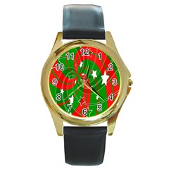 Background Abstract Christmas Round Gold Metal Watch