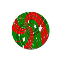 Background Abstract Christmas Rubber Round Coaster (4 pack)