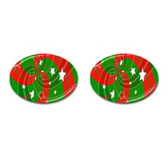 Background Abstract Christmas Cufflinks (oval)