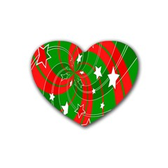 Background Abstract Christmas Rubber Coaster (heart)