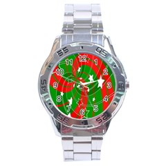Background Abstract Christmas Stainless Steel Analogue Watch