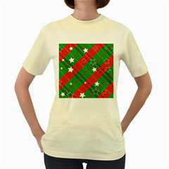 Background Abstract Christmas Women s Yellow T-Shirt