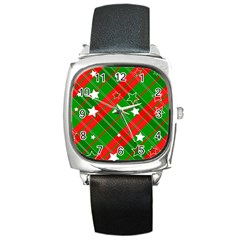 Background Abstract Christmas Square Metal Watch