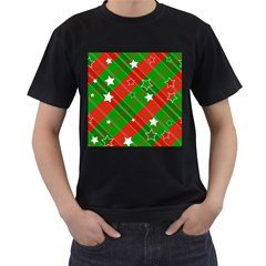 Background Abstract Christmas Men s T Shirt (black) (two Sided)