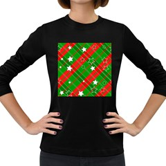Background Abstract Christmas Women s Long Sleeve Dark T-Shirts