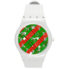 Background Abstract Christmas Round Plastic Sport Watch (m)