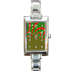 Background Abstract Christmas Pattern Rectangle Italian Charm Watch