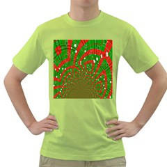 Background Abstract Christmas Pattern Green T-Shirt