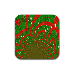 Background Abstract Christmas Pattern Rubber Coaster (Square)