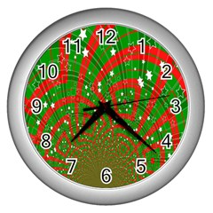 Background Abstract Christmas Pattern Wall Clocks (Silver)