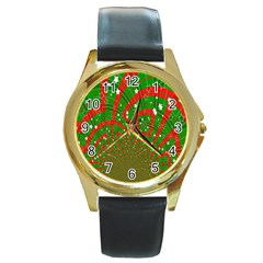Background Abstract Christmas Pattern Round Gold Metal Watch