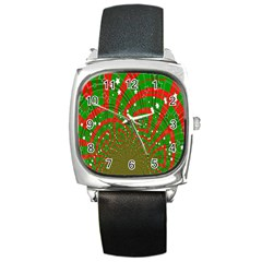 Background Abstract Christmas Pattern Square Metal Watch