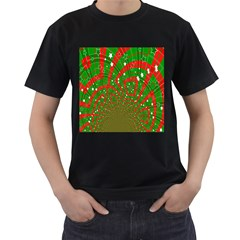 Background Abstract Christmas Pattern Men s T-Shirt (Black) (Two Sided)